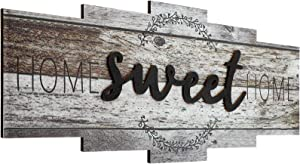 Home Sweet Home Sign, Rustic Wood Home Wall Decor, Large Farmhouse Home Sign Plaque Wall Hanging for Bedroom, Living Room, Wall, Wedding Decor (Rustic Color)