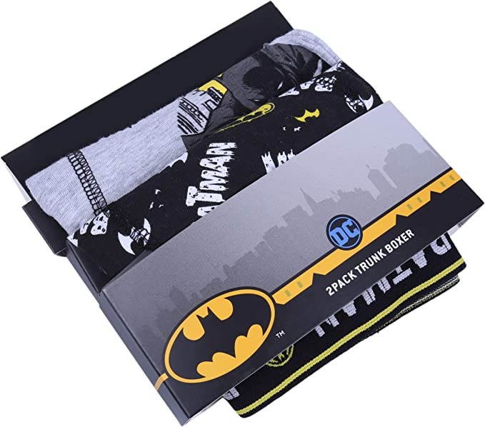 2X Mutande Tipo Boxer Neri e Grigi Batman DC Comics
