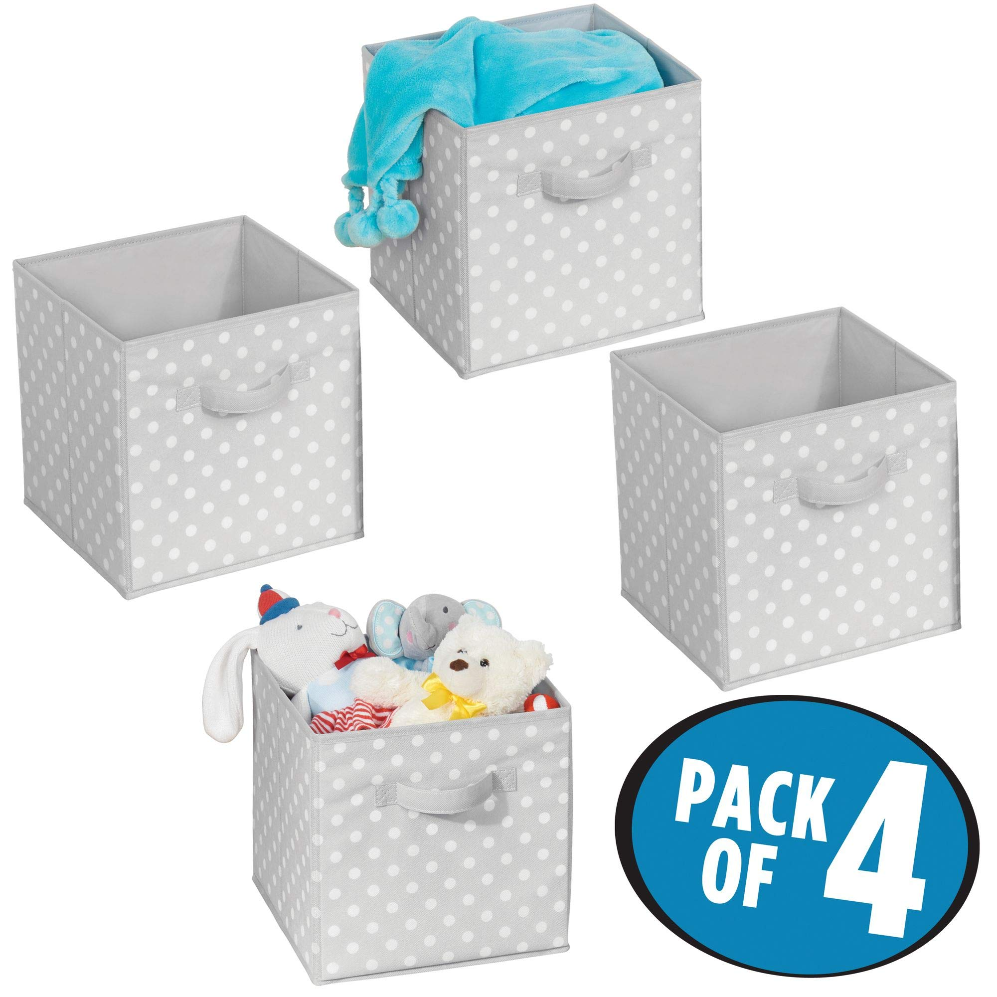 mDesign Soft Fabric Closet Organizer Bin Box - Front Handle - Cube Storage for Child/Kids Room, Nursery, Toy Room, Furniture Organization - 10.5'' high - 4 Pack, Gray with White Polka Dots