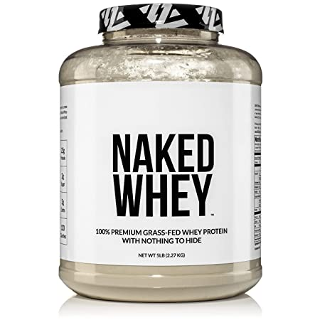NAKED WHEY 5LB 100 Grass Fed Whey Protein Powder – US Farms, 1 Undenatured, Bulk, Unflavored – GMO, Soy, and Gluten Free – No Preservatives – Stimulate Muscle Growth – Enhance Recovery – 76 Servings