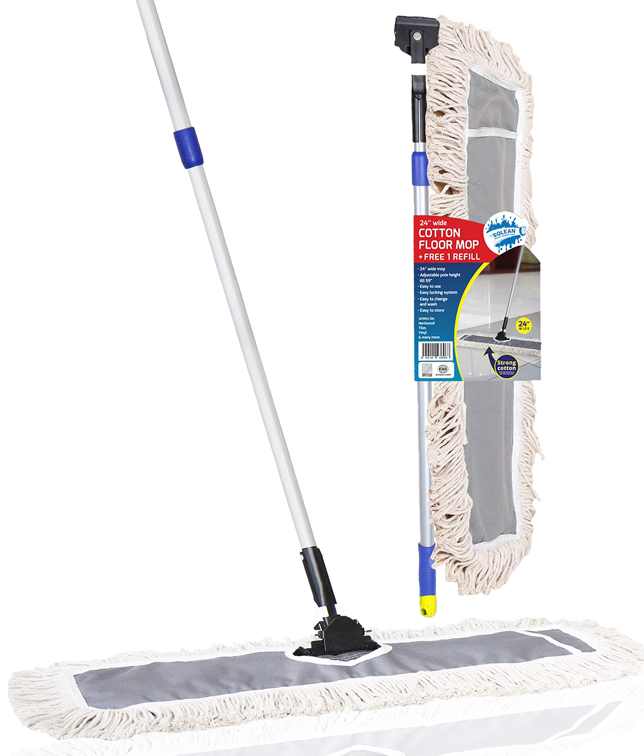 SQCLEAN Premium 24-inch Industrial Class Cotton Wide Dust Mop Head (24'' x 11'') with 1 Refill | For Home, Office, Garage | Attracts Dirt, Dust, Water