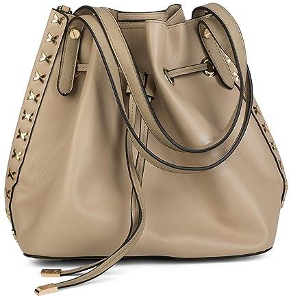 styleBREAKER ensemble de sacs avec sac à bandoulière décoré de clous en métal sur le côté, sac à bandoulière, sac shopper, sac, femme 02012164, couleur:Rouge