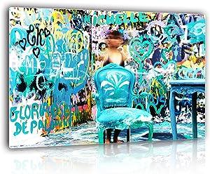 "Aqua Graffiti Astract Photography Artwork Wall Art Decor for Living Room, Bedroom   Ultra HD Aluminum Metal Print Wall Decor for European Minimalist Style Home, Office, Bar - 16x24"" Easy to Hang"