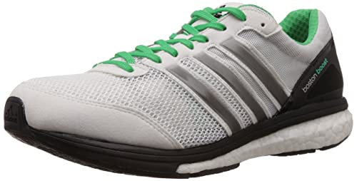 huge discount 063ca 75d06 Adidas Mens Adizero Boston Boost 5 M Black,White,Green,Silver Leather  Running