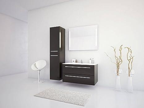 Jokey Badmöbel-Set Libato - 90 cm breit - Anthrazit Hochglanz -  Badezimmermöbel Waschtisch mit Unterschrank Spiegel mit Beleuchtung und  Hochschrank ...