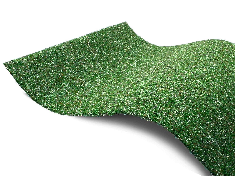 Gr/ün Outdoor Teppich MUSTER Vlies-Rasenteppich mit Noppen Premium Rasenteppich f/ür Balkon Meterware GREEN Balkon Bodenbelag