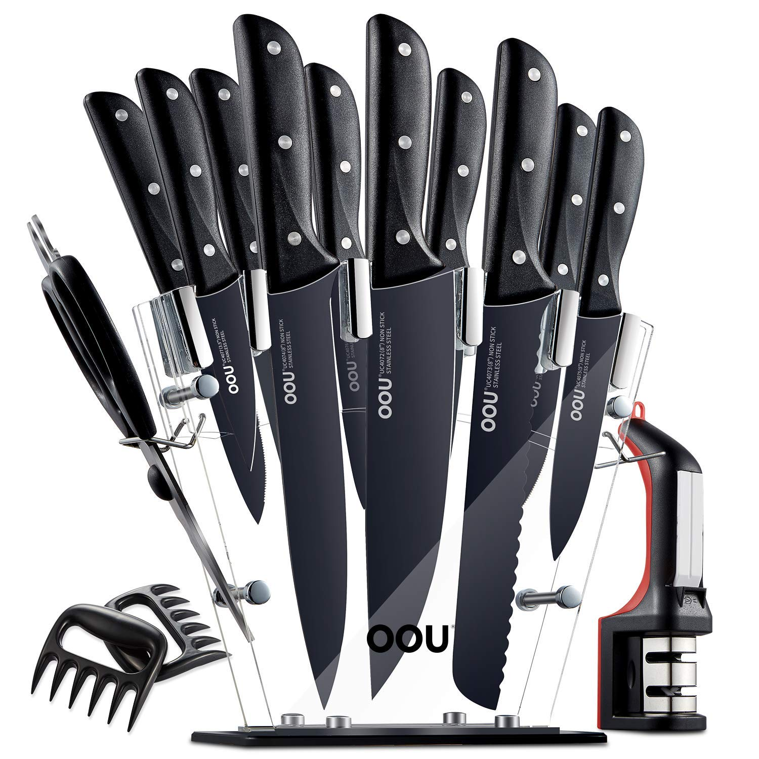 Knife Set, OOU Kitchen Knife Set, 15 Pieces Full Tang Triple Rivet, High Carbon Stainless Steel, FDA Certified BO Oxidation for Anti-rusting, Ultra Sharp Premium Edge Tech, Black Chef Series by OOU! (Image #1)