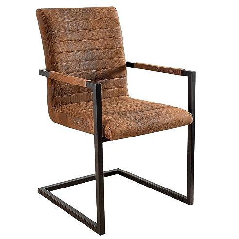 Freischwinger Stuhl IMPERIAL Vintage Braun Mit Armlehne Schwingerstuhl  Esszimmer Stuhl