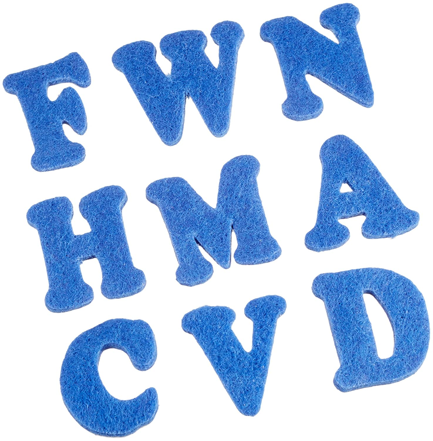 Darice FLT-1012 100 Piece Felties Royal Blue Alphabet Felt Stickers