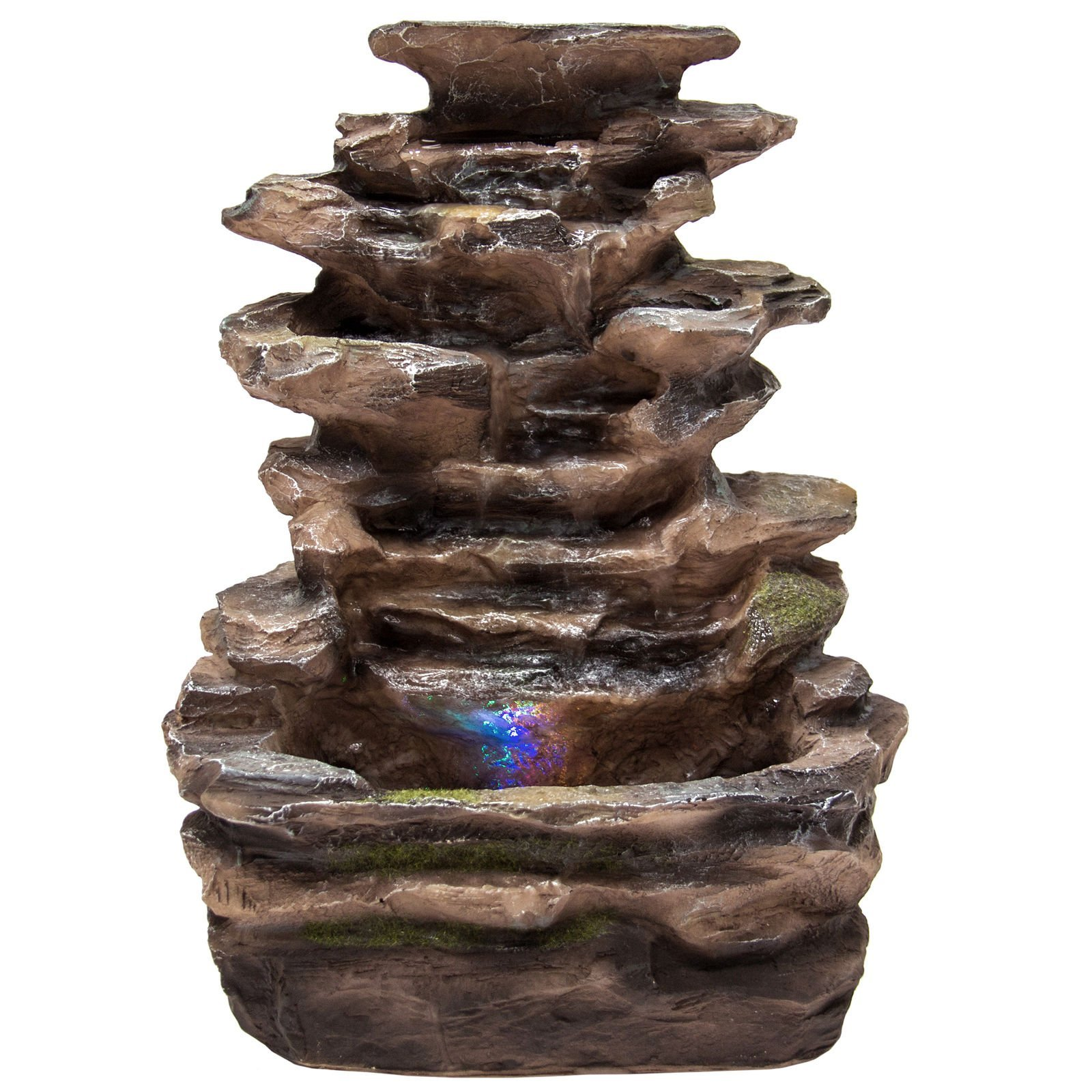 NEW Home Indoor Tabletop Fountain Waterfall With Multicolor LED Lights