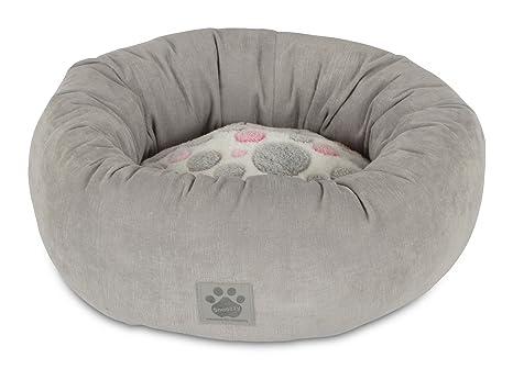 Lindo como un botón para Perro Cama Color: Rosa/Gris