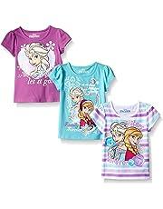 5a9f6b99 Disney Girls' 3 Pack Frozen T-Shirts