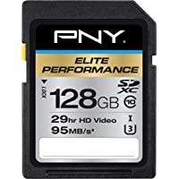 PNY P-SDX128U395-GE Elite Performance 128 GB High Speed SDXC Class 10 UHS-I, U3 Up to 95 MB/Sec Flash Card