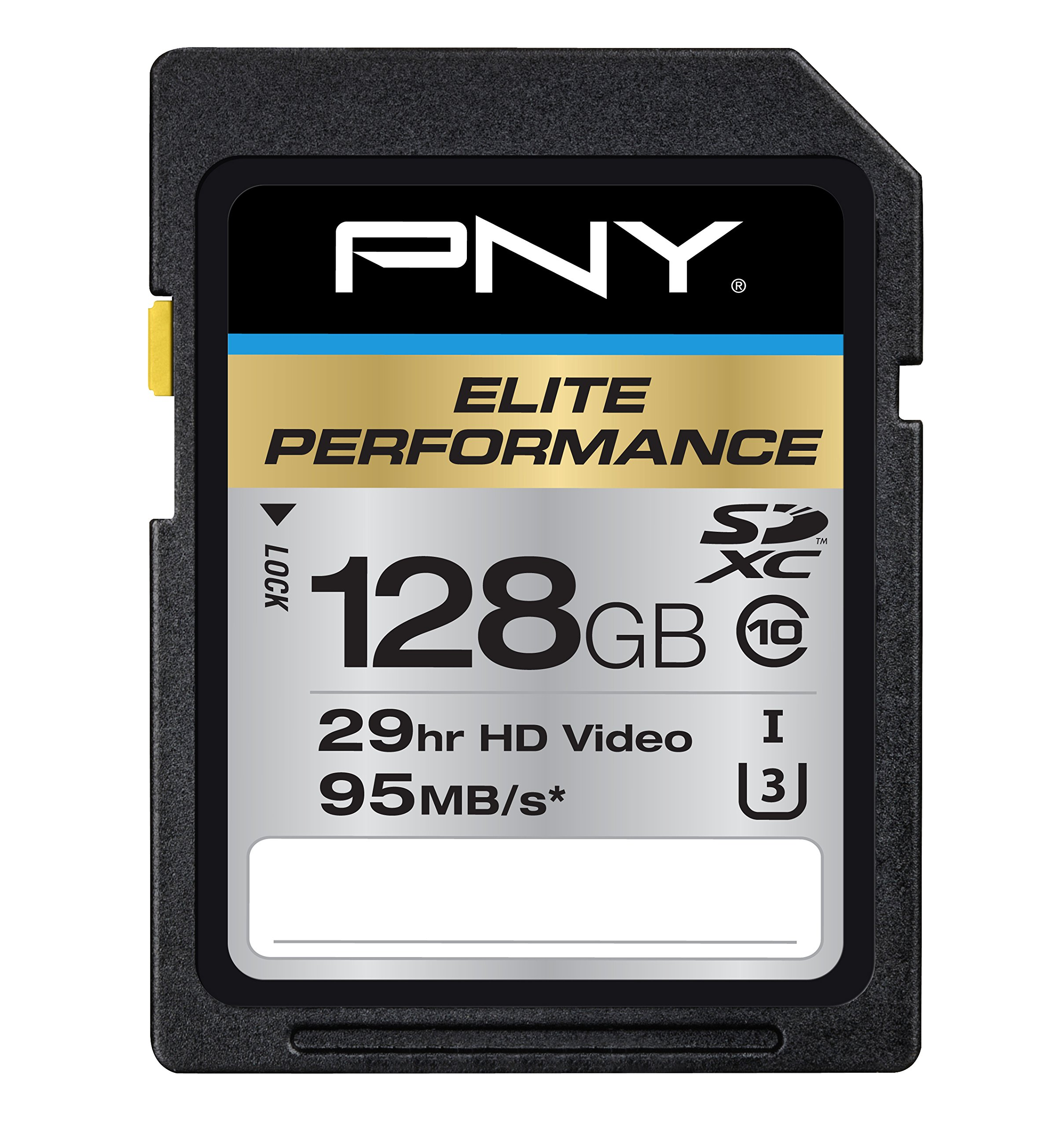 PNY P-SDX128U395-GE Elite Performance 128 GB High Speed SDXC Class 10 UHS-I, U3 Up to 95 MB/Sec Flash Card by PNY