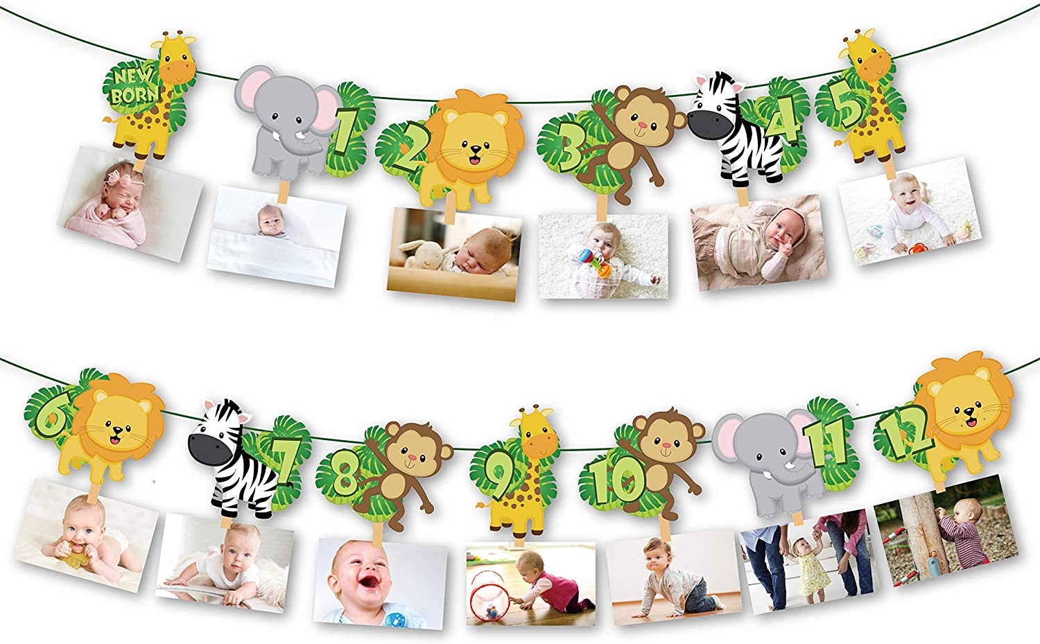 CC HOME Jungle 12 Months Photo Banner Safari Garland for Kids,Boys,Baby Shower,Birthday Party Decoration