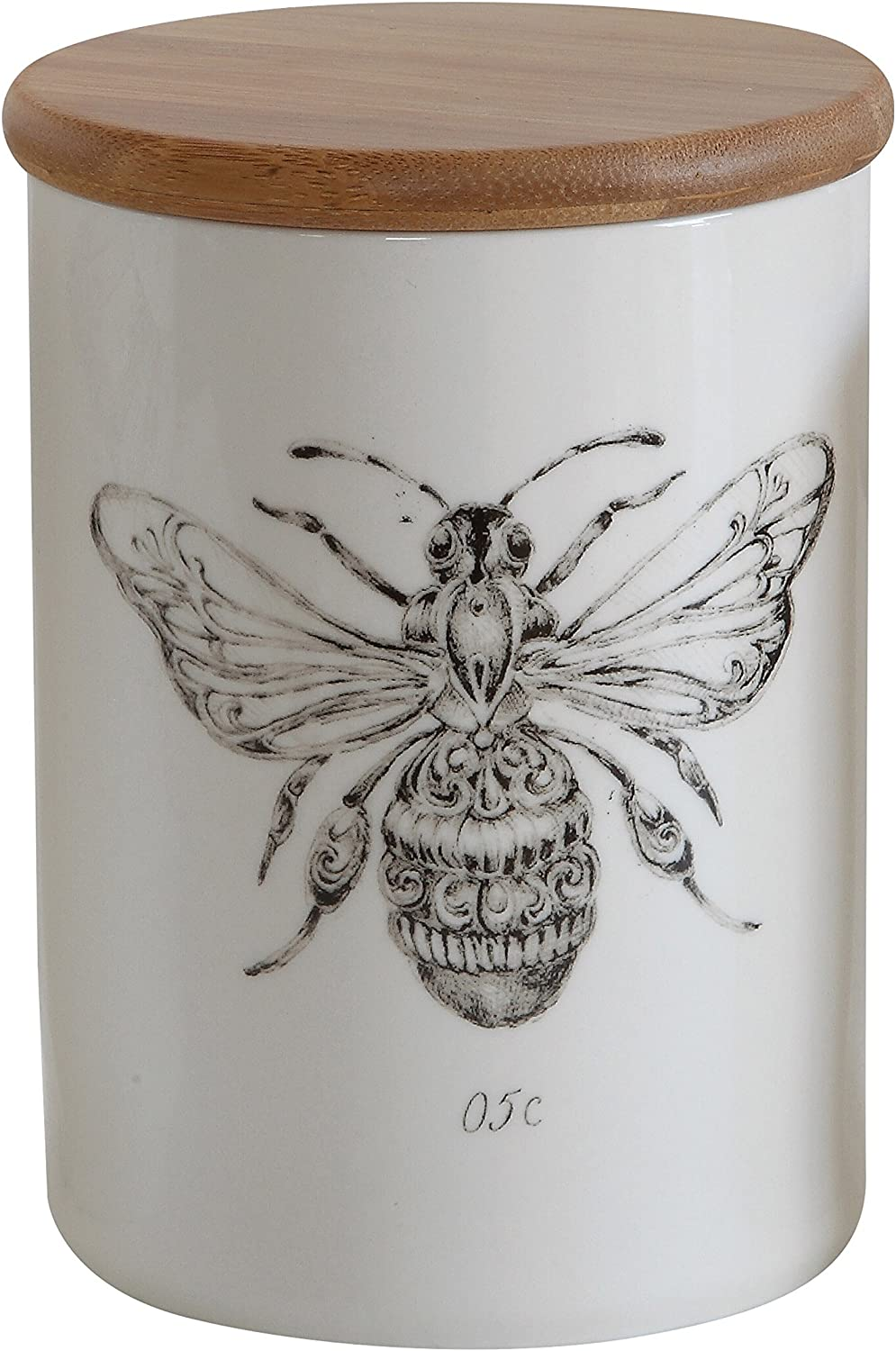 Creative Co-Op White Stoneware Jar with Bee Image & Bamboo Lid