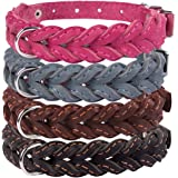 CollarDirect Braided Dog Collar, Genuine Leather Pet Collar for Dogs Small Medium Large Black Brown Pink Gray