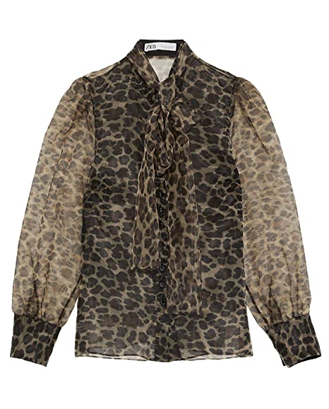 4add803e196b Zara Women's Animal Print Blouse with Bow 2015/609: Amazon.co.uk ...