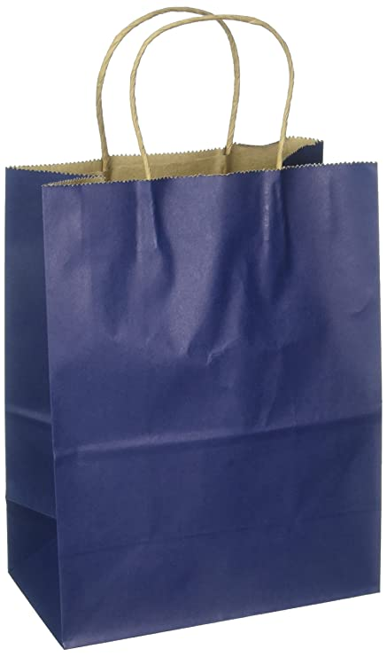 Amazon 8x475x10 100 Pcs Navy Blue Kraft Paper Bags