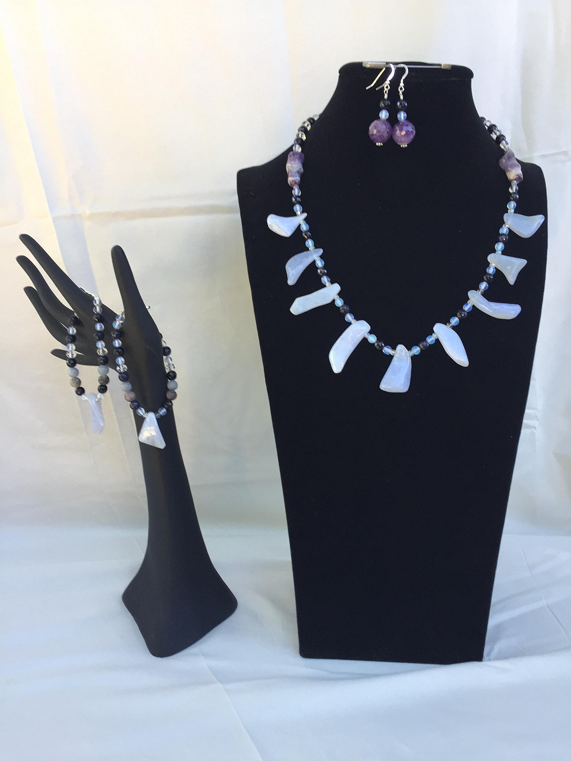 Unique handmade jewelry set with a necklace, two bracelets and matching dangle earrings. Blue Lace Agate, Amethyst and mixed gemstones. One of a kind