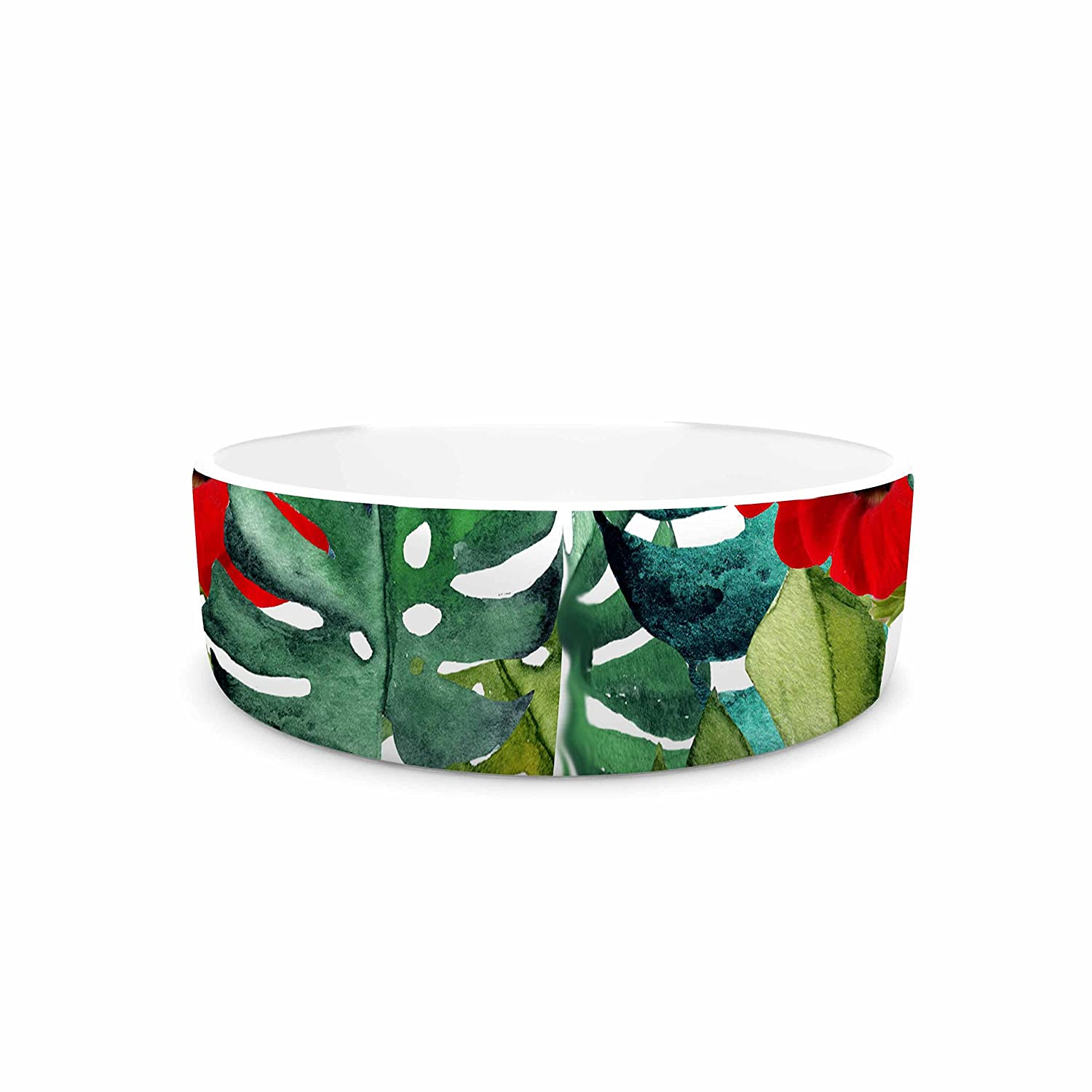 KESS InHouse Li Zamperini Tropical Vibes Green Olive Watercolor Pet Bowl, 4.75  Diameter
