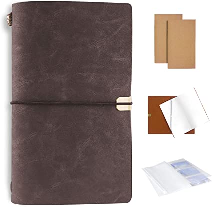 int/égr/ées xperg Carnet de notes fait main en cuir avec pochettes multi-usage journal notebook de voyage id/éal pour les amateurs de voyages ou voyageurs daffaires 12 x 20 cm Gris Noir