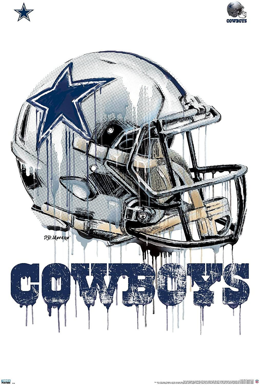 Trends International NFL Dallas Cowboys - Drip Helmet 20 Wall Poster, 22.375
