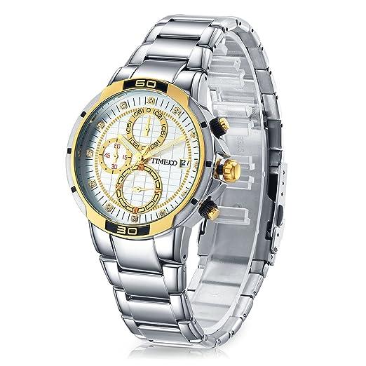 Time100 Reloj Pulsera de Curazo de Metal para Hombres esferas pequeñas Correa de Acero: Amazon.es: Relojes
