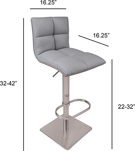 AC Pacific Contemporary Hydraulic Height Adjustable Stainless Steel Swivel Bar Stool Chair