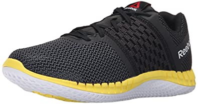 Reebok Men's Zprint Run Running Shoe, Black/Gravel/Yellow Spark, ...