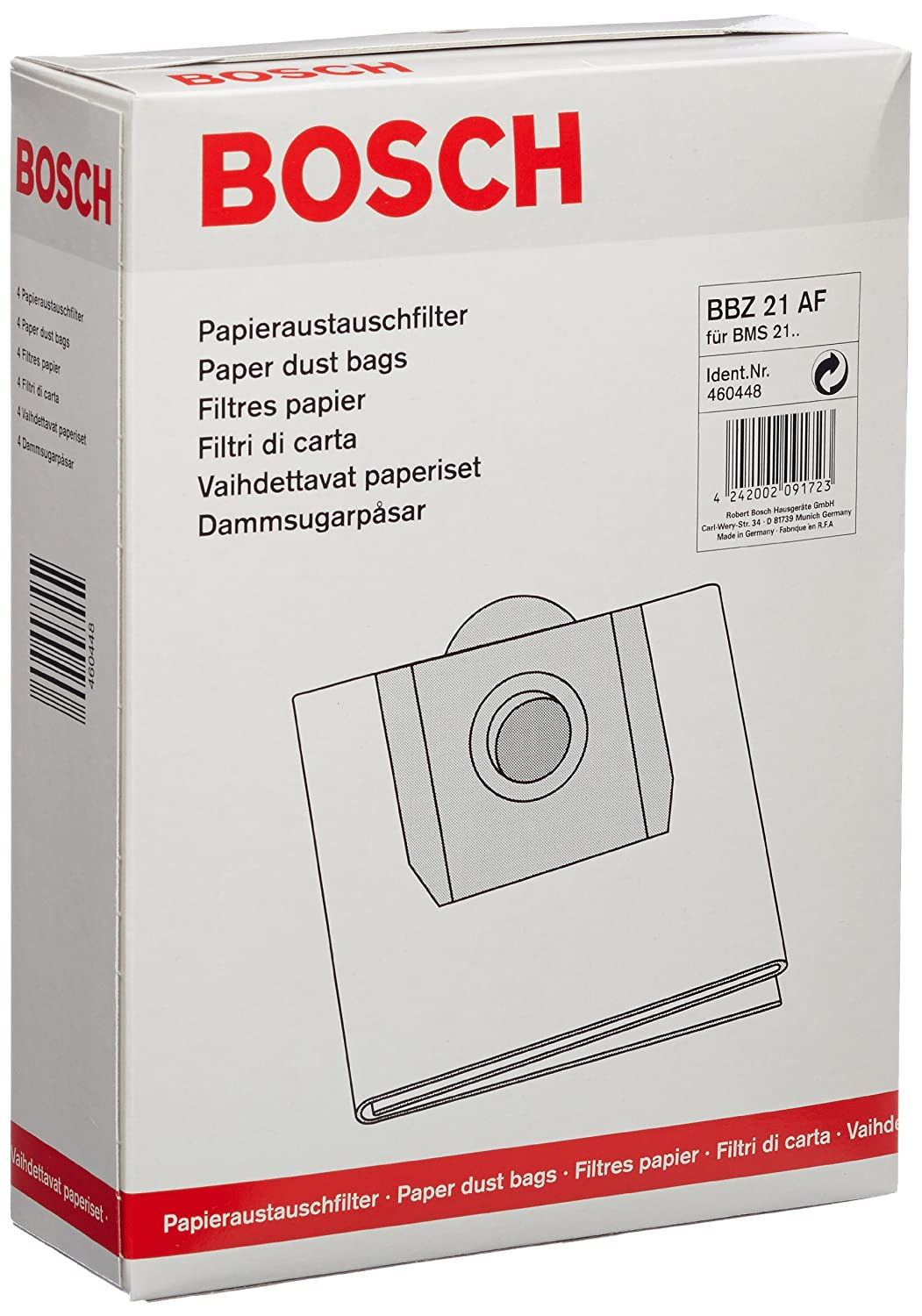 Bosch Bbz21af Paper Vacuum Cleaner Filters For Sou Amazon Co Uk