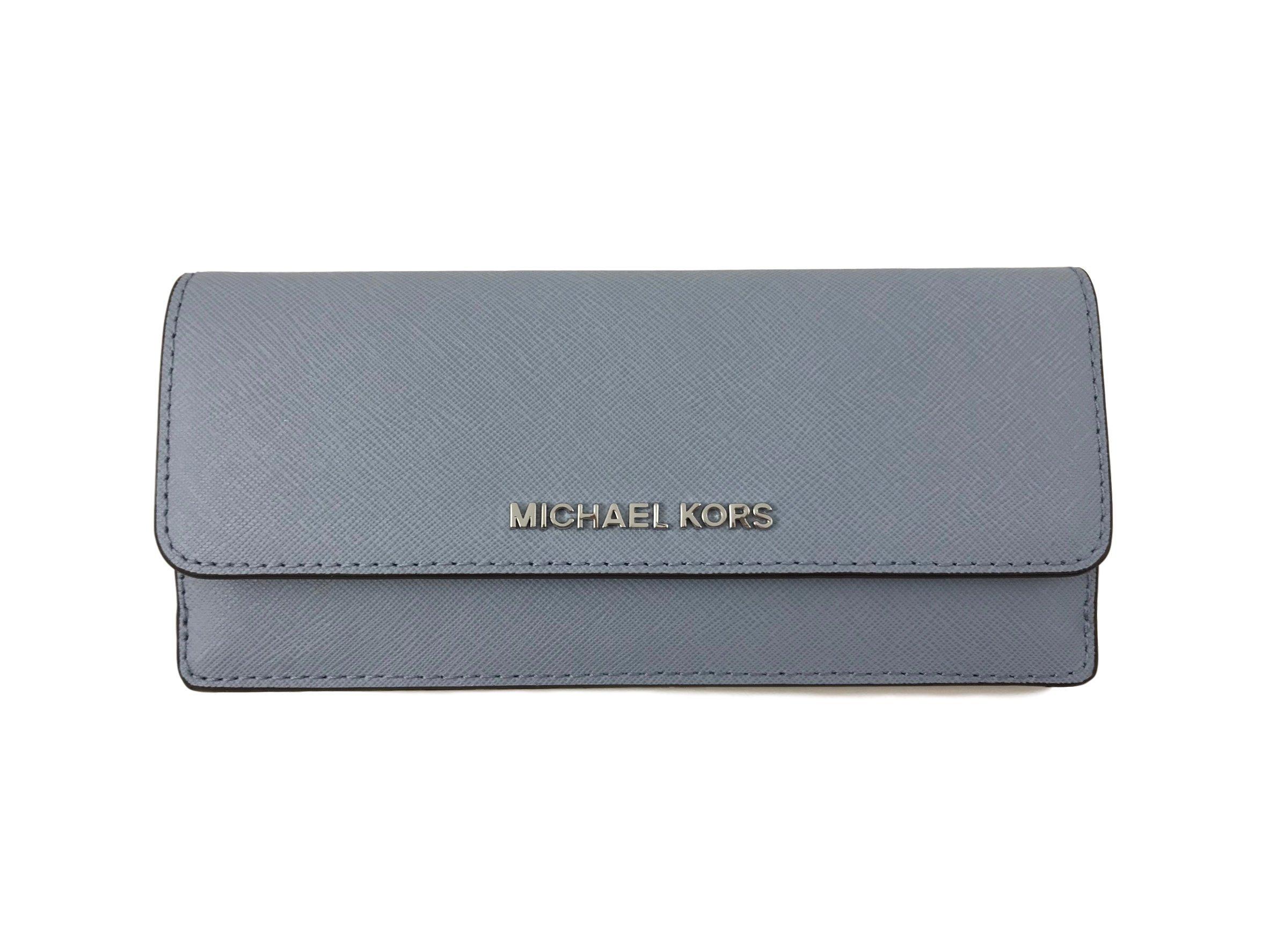 Michael Kors Jet Set Travel Saffiano Leather Slim Flat Wallet in Pale Blue