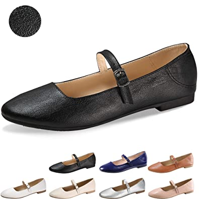 CINAK Flats Mary Jane Shoes Women s Casual Comfortable Walking Buckle Ankle  Strap Fahion Slip On (
