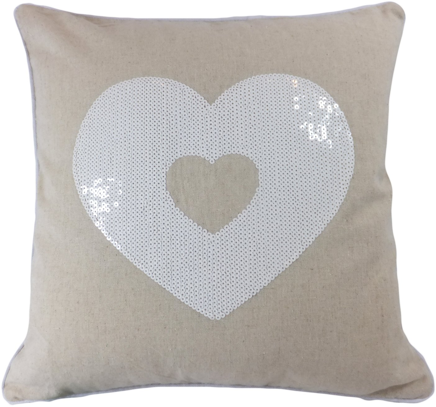 "Decorative White Sequins Love Symbol Floral Throw Pillow Cover 18"" White/beige - Sewn LOVE symbol white sequins in front Simple, elegant design makes the pillow a perfect match in any room Hidden zipper allows easy change of pillow inserts - living-room-soft-furnishings, living-room, decorative-pillows - 81DuMkfrFGL -"