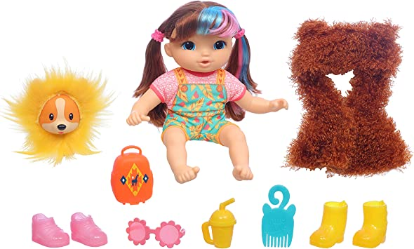 Littles by Baby Alive, Fantasy Styles Squad Doll, Little Harlyn, Safari Accessories, Straight Brown Hair Toy for Kids Ages 3 Years and Up (Amazon Exclusive)