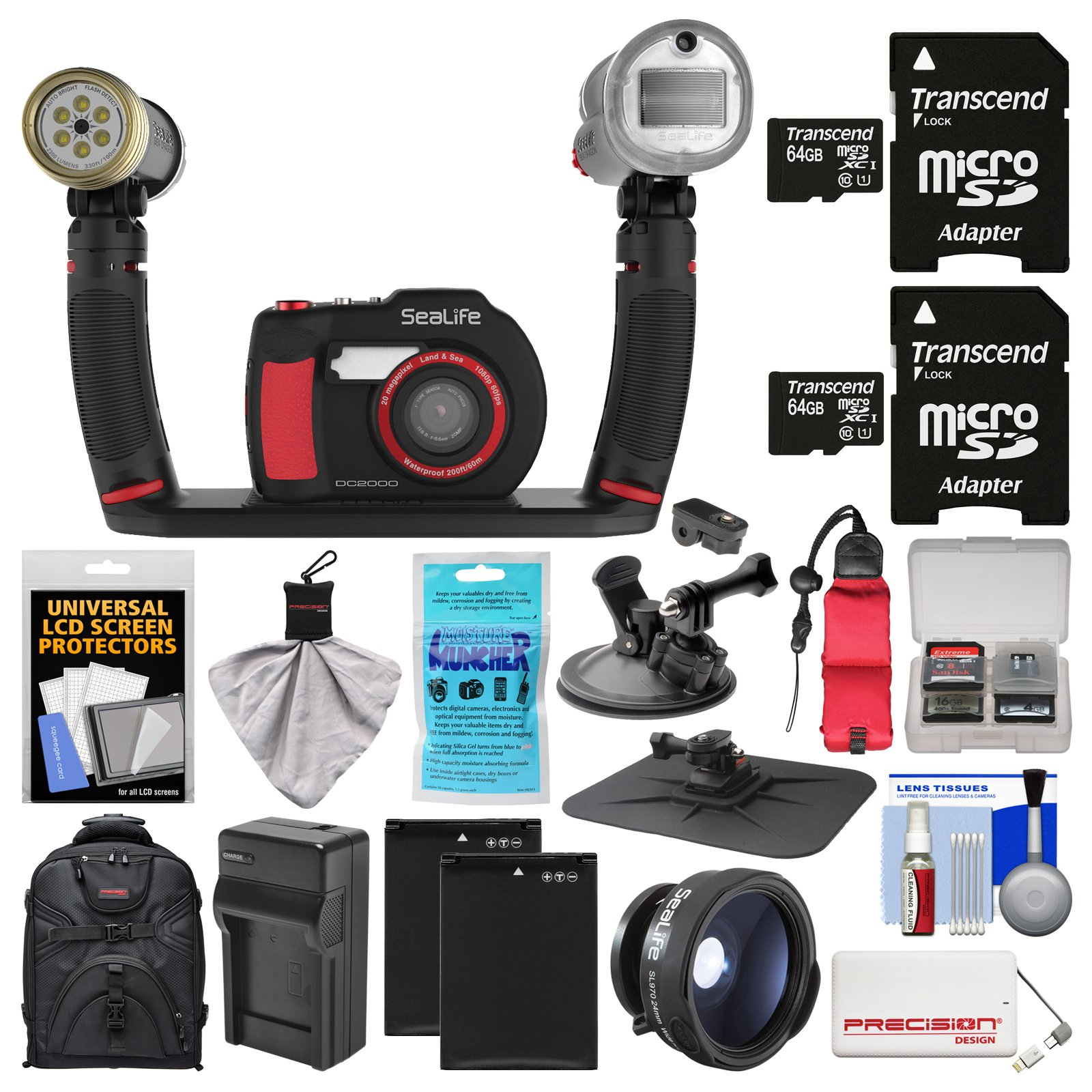 SeaLife DC2000 HD Underwater Digital Camera with Sea Dragon Pro Duo Light & Flash Set + Wide Angle Lens + 2 64GB Cards + Batteries & Charger + Backpack Kit by SeaLife