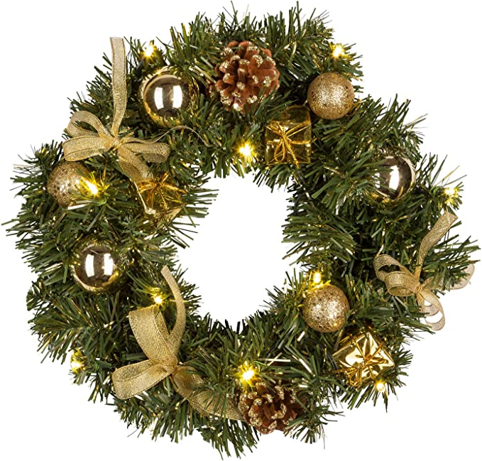 decoraci/ón Funciona con Pilas Idena Corona de Navidad con 10/LED Oro Temporizador 30/cm