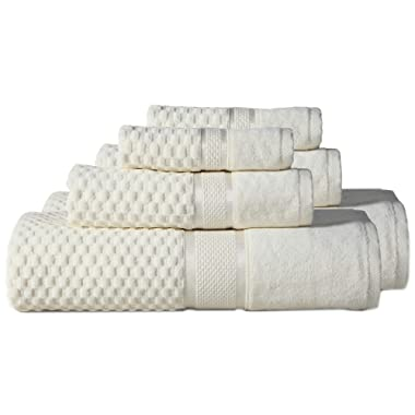 650GSM Premium Towel Set 6-Piece 2 Bath Towels 2 Hand Towels and 2 Washcloth – 100% Cotton Hotel & Spa Quality Super Soft, and Highly Absorbent Machine Washable Bathroom Towels By Luxomere (Ivory)