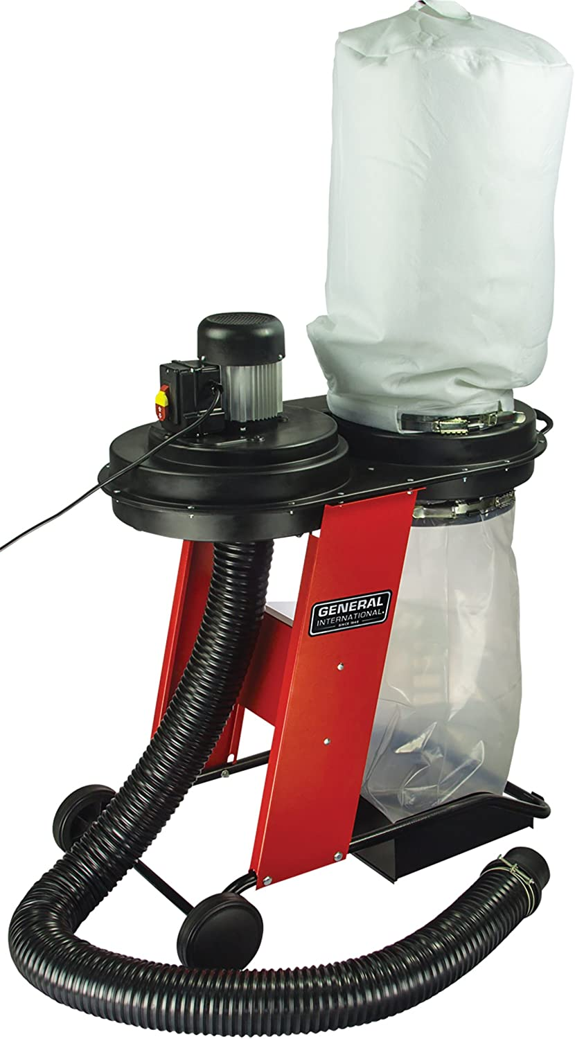 GENERAL INTERNATIONAL Portable Dust Collector - 17 Gallon Debris Vacuum with Heavy-Duty Wheels & Reusable Collection Bag - BT8010
