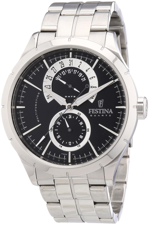 Festina Klassik Multifunktion F16632/3 - Reloj analógico de cuarzo para hombre, correa de acero inoxidable color plateado (agujas luminiscentes)