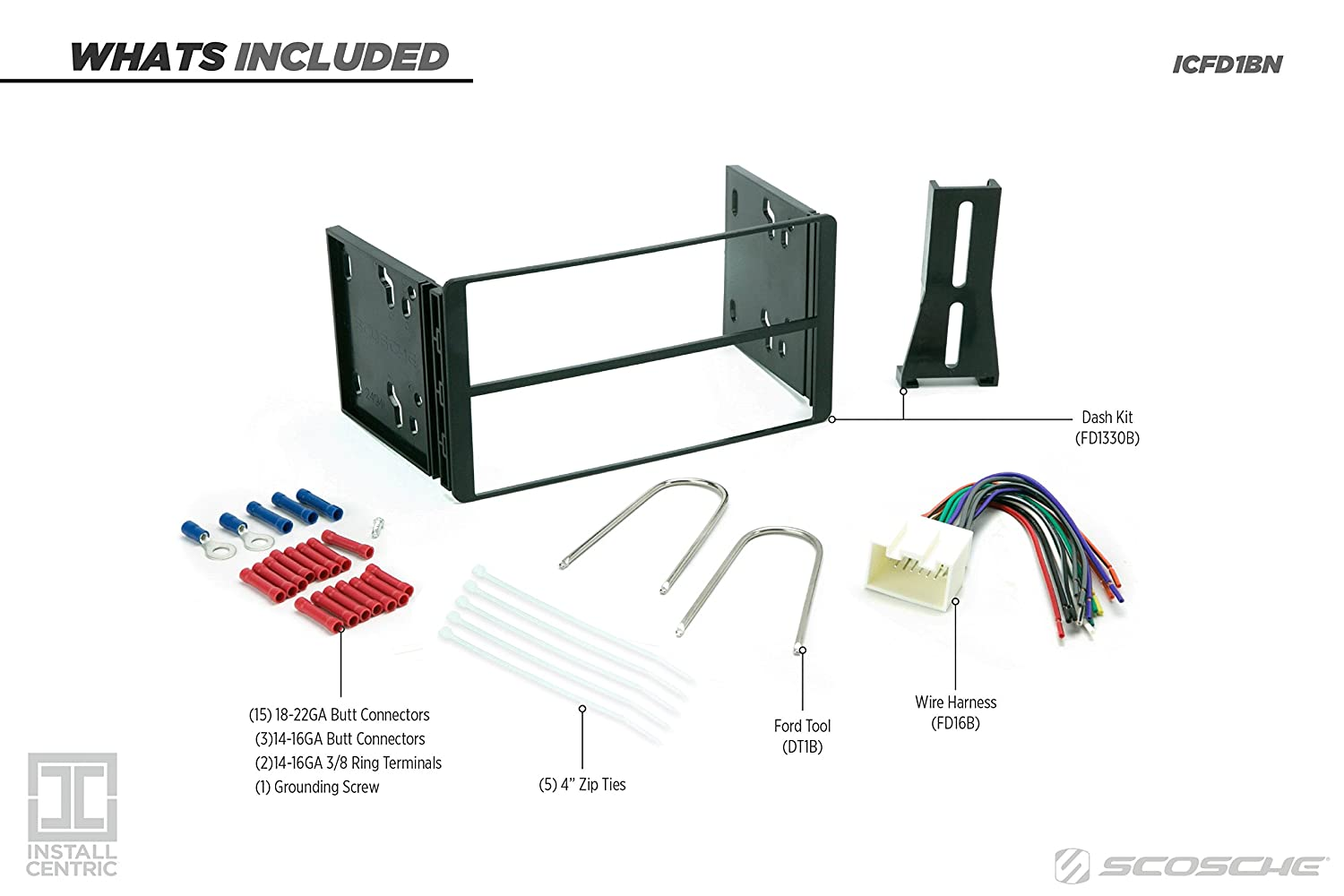 Install Centric ICFD1BN Ford//Lincoln//Mercury 1995-05 Double Din Complete Installation Kit