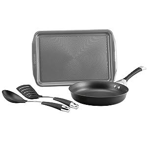 Circulon 87535 4-Piece Hard Anodized Aluminum Cookware Set Black
