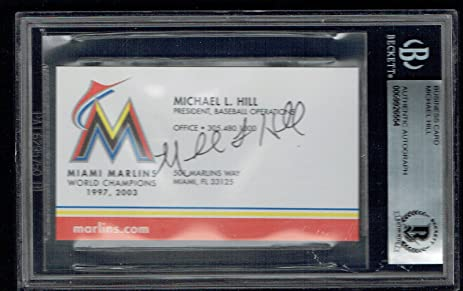 Michael Hill Signed Autograph Business Card Miami Marlins President