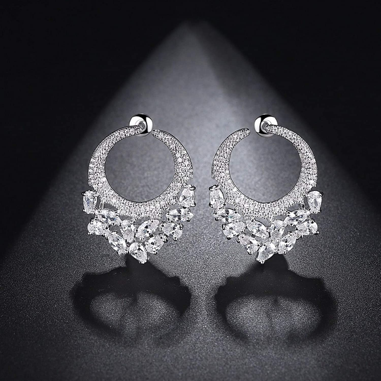 Silver Earrings By CS-DB Unique Design Clear Cubic Zircon Cluster Stud Earrings For Womens