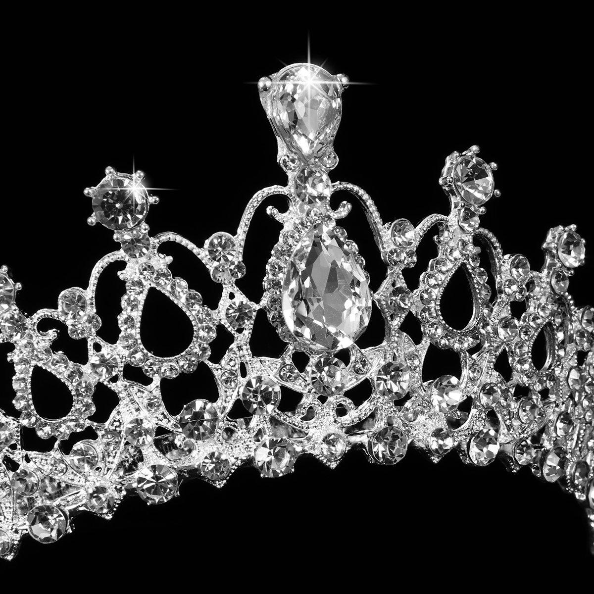 Crystal Tiara Crown Rhinestone Wedding Bridal Tiara Headband, Bridal Wedding Veil with Comb Included
