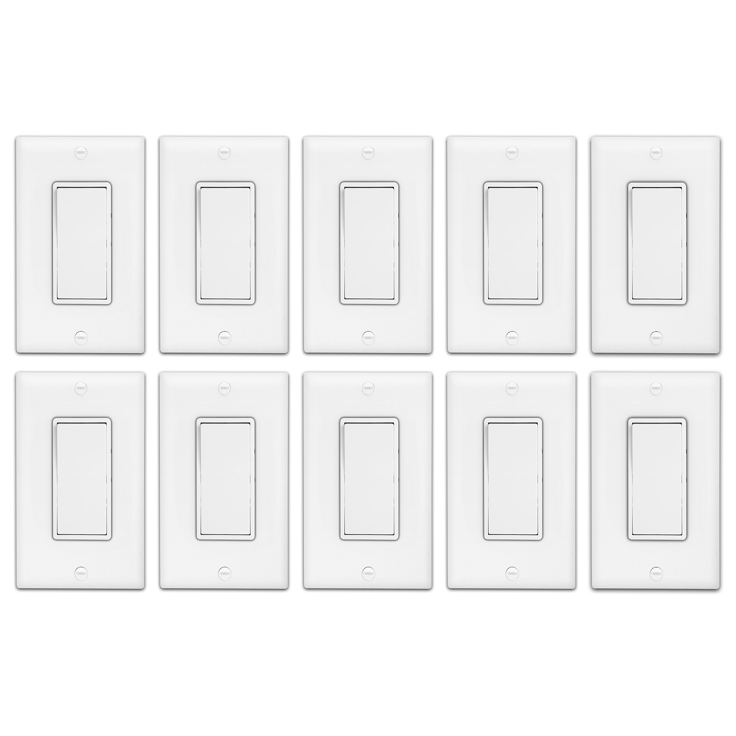 Enerlites Decorator On/Off Paddle Wall Switch with Covers, 91150-WWP | 15 Amp, 120-277VAC, Single Pole, 3 Wire, Grounding, Residential and Commercial Graded Light Switches, UL Listed | White - 10 Pack