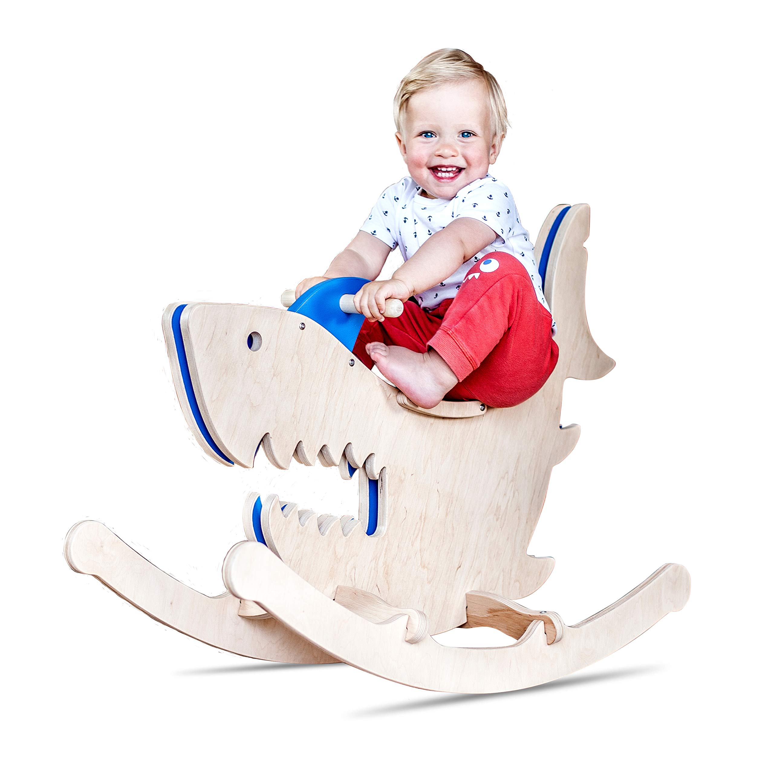 Linen Art Rocking Monsters Toys - Ride-On Animals for Kids - New Type of Wooden Rocking Horses (Shark)