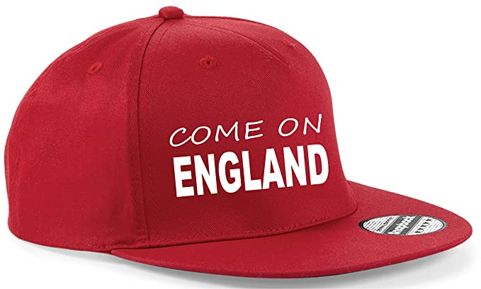 36859fdb13c Snapback Cap HAT Come on England Football World Cup UK Team Adjustable (RED  HAT)