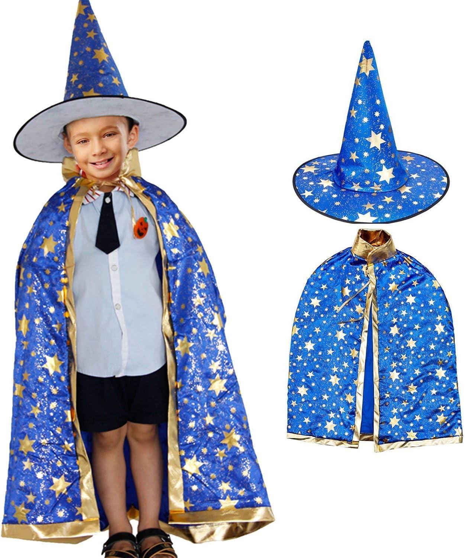 Costume da Strega di Halloween,Costume da Mago con Cappello da Mago Mantello per Bambini Ragazzo Ragazza Costume Cosplay Festivel Stile Stella