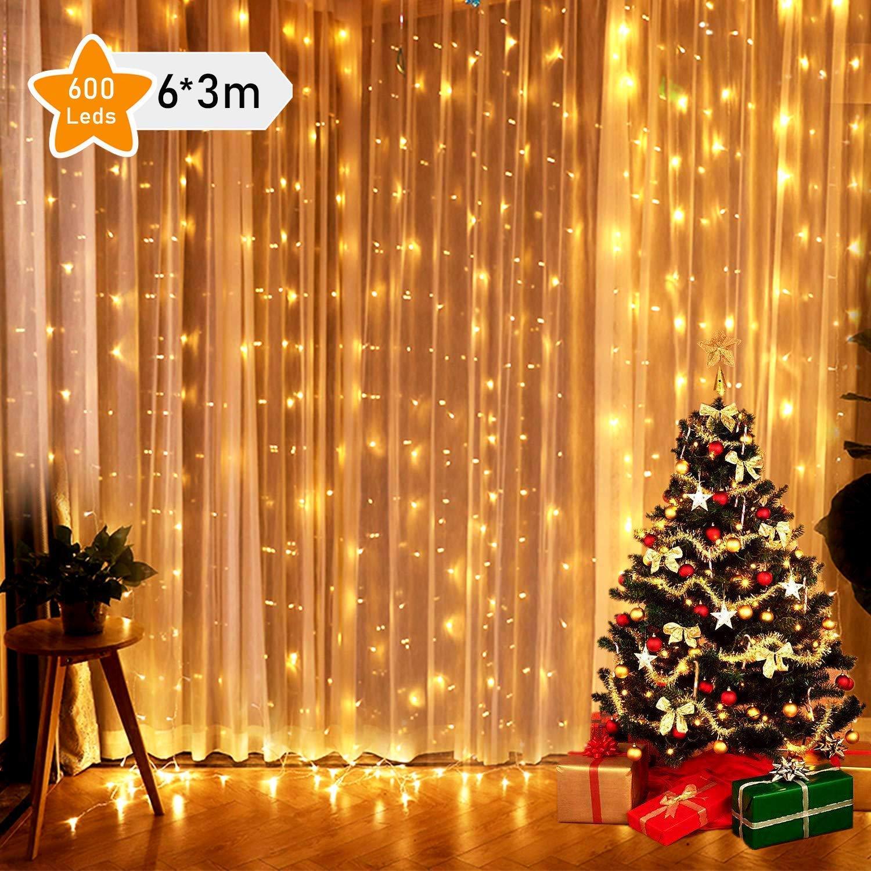 Navidad 8 Modos de iluminaci/ón para decoraci/ón de D/ía de Todos los Santos sal/ón de boda velada 6*3M 600LED Globalink Guirnalda LED fiestas